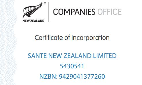 Sante New Zealand limited Certification