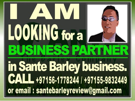 Looking for a BUSINESS PARTNER in Sante Barley business.