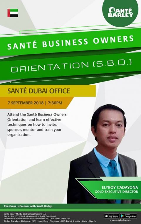 Sante Barley UAE Business Owner Orientation for September 2018