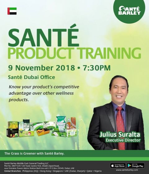 Sante Barley UAE Product Training for Nobember 2018