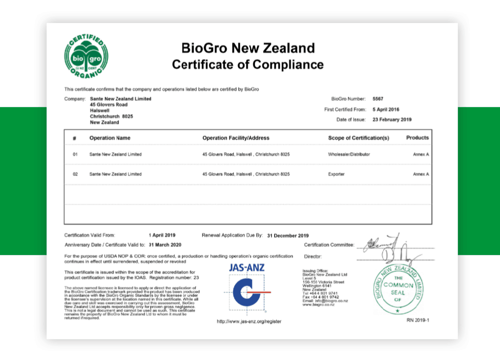 BioGro New Zealand Certificate of Compliance for Sante New Zealand Limited